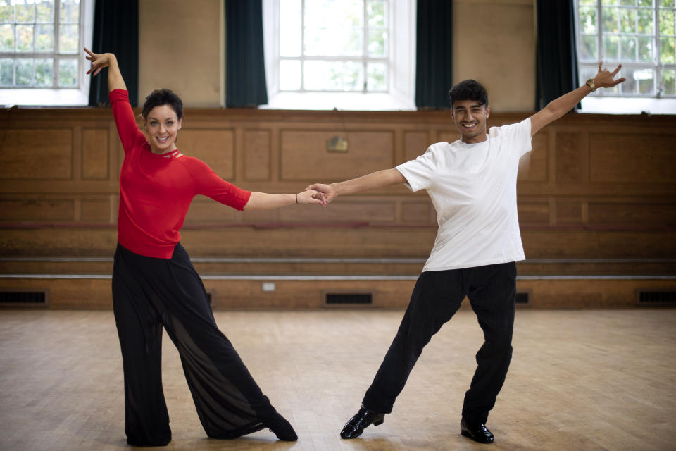 EMBARGOED TO 0001 SATURDAY OCTOBER 12 Strictly Come Dancing contestant Karim Zeroual and his professional dance partner Amy Dowden during rehearsals at a dance studio in London.