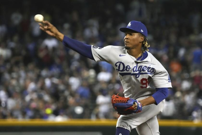 Los Angeles Dodgers pitcher Edwin Uceta in the first inning during a baseball game.