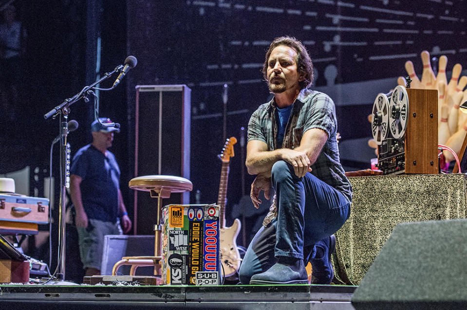 """<p>The singer kneeled in front of the audience at the Pilgrimage Music and Cultural Festival in Franklin, Tenn., on Sunday. Earlier in the day, Pearl Jam posted words of support, <a rel=""""nofollow noopener"""" href=""""https://twitter.com/PearlJam/status/912015522933428224"""" target=""""_blank"""" data-ylk=""""slk:writing"""" class=""""link rapid-noclick-resp"""">writing</a> that it's the players' constitutional right to stand up, sit down or <s> # </s>takeaknee for equality."""" (Photo: Amy Harris/Invision/AP) </p>"""
