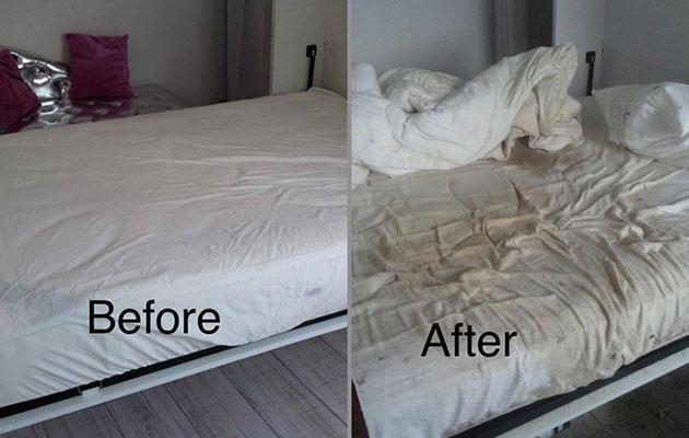 Using a bed as a toilet? Really? Photo: Facebook