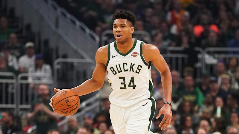 Milwaukee Bucks' Giannis Antetokounmpo dribbles during the first half of Game 5 of the NBA Eastern Conference basketball playoff finals against the Toronto Raptors Thursday, May 23, 2019, in Milwaukee. (AP Photo/Morry Gash)