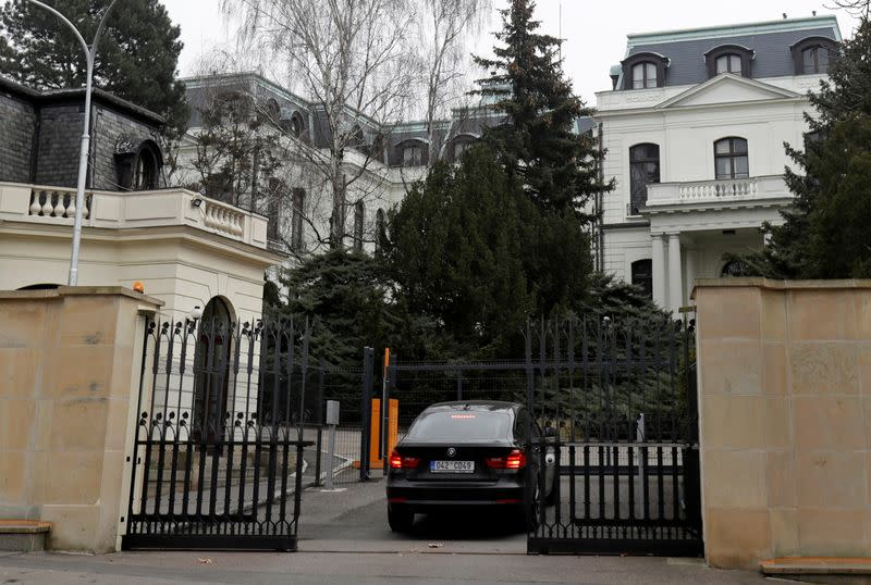 FILE PHOTO: A car enters the Russian embassy in Prague