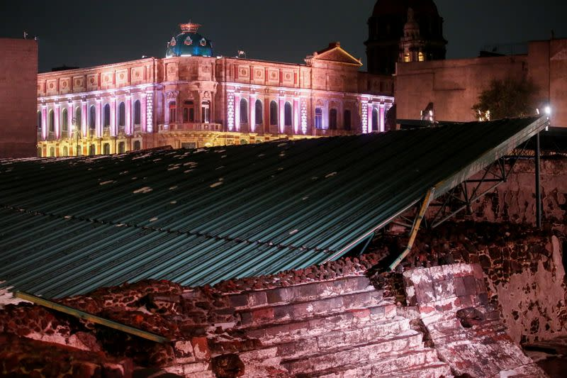 """A view shows the collapsed roof that protect the """"Casa de las Aguilas"""", part of the ruins of the Templo Mayor archaeological site, after heavy rain and hail, in Mexico City"""