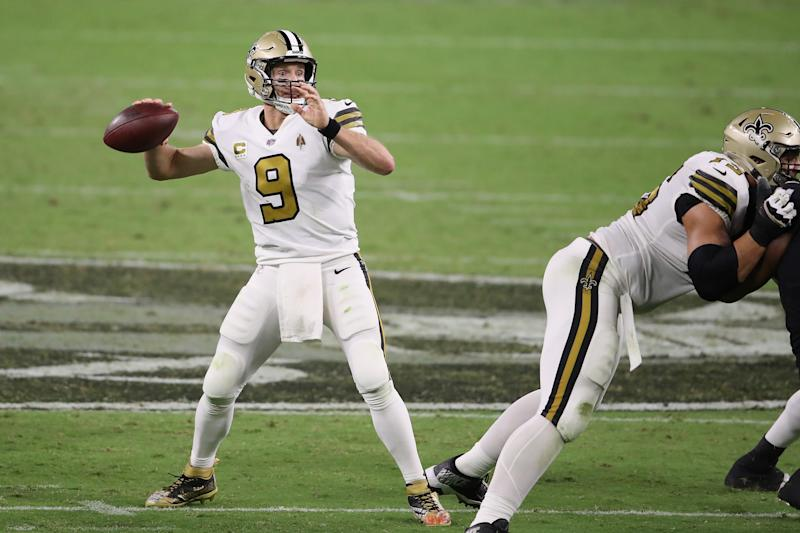 New Orleans Saints quarterback Drew Brees drops back to pass against the Las Vegas Raiders at Allegiant Stadium in Las Vegas, Nevada, on Monday. (Christian Petersen/Getty Images)