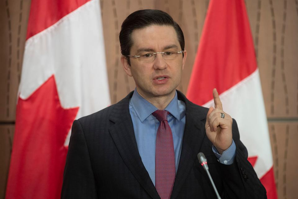 Conservative MP Pierre Poilievre speaks during a news conference in Ottawa on April 8, 2020.  (Photo: Adrian Wyld/CP)