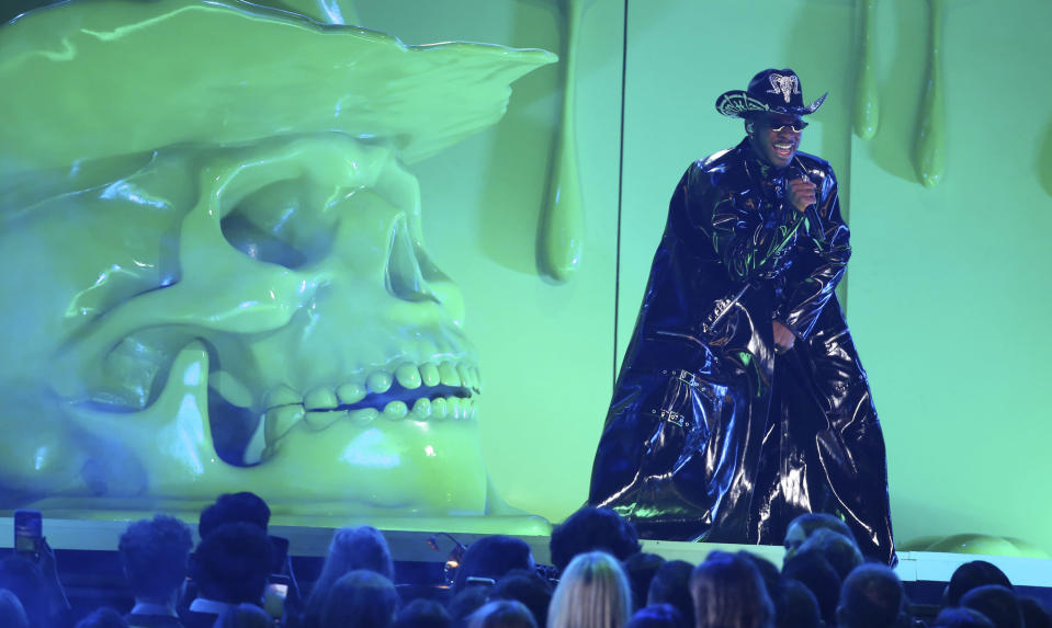 Lil Nas X performs at the 62nd annual Grammy Awards on Sunday, Jan. 26, 2020, in Los Angeles. (Photo by Matt Sayles/Invision/AP)