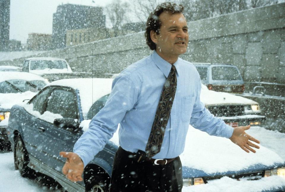 "<p>If you're going to relive a day over and over, you'd hope that it would at least be warm. Phil (<a class=""link rapid-noclick-resp"" href=""https://www.popsugar.com/Bill-Murray"" rel=""nofollow noopener"" target=""_blank"" data-ylk=""slk:Bill Murray"">Bill Murray</a>) has to brave the elements more than once, but the most ironic part is that he's a weatherman.</p>"