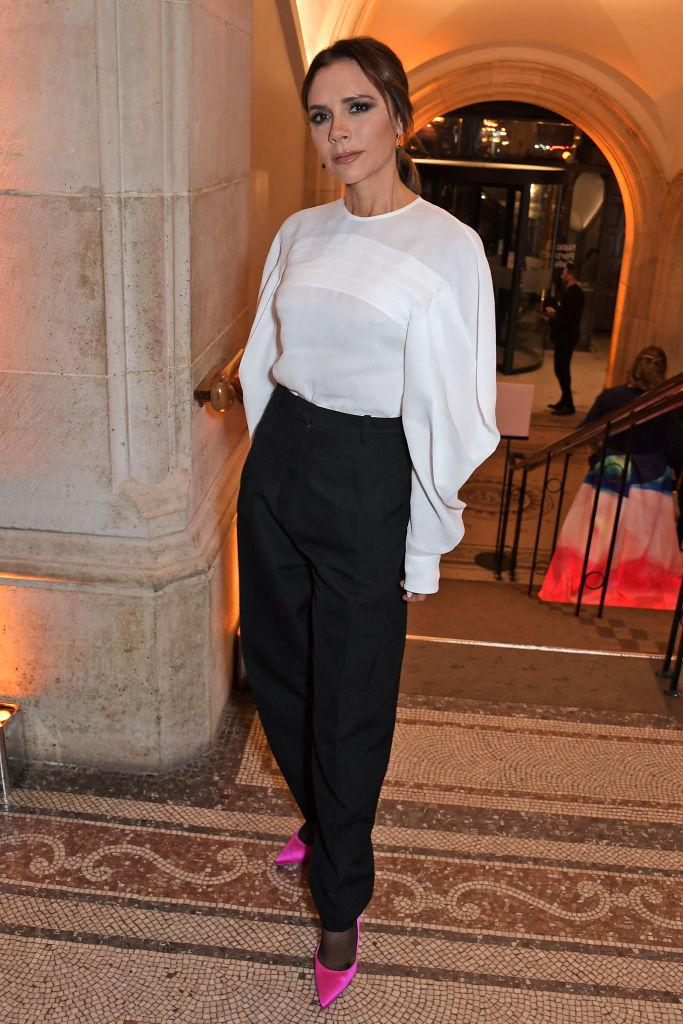 How we're more used to seeing Victoria Beckham dress, pictured at the Portrait Gallery Gala, March 2019. (Getty Images)