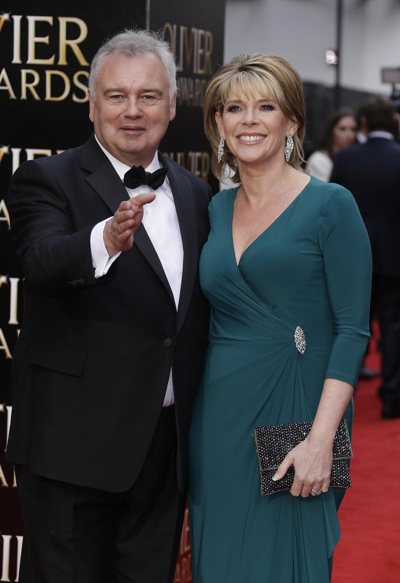 Eamonn Holmes and Ruth Langsford pose for photographers upon arrival at the Olivier Awards at the Royal Opera House in central London, Sunday, April 12, 2015. The Laurence Olivier Awards are presented annually by the Society of London Theatre to recognise excellence in professional theatre and were renamed in honour of the British actor, in 1984. (Photo by Joel Ryan/Invision/AP)