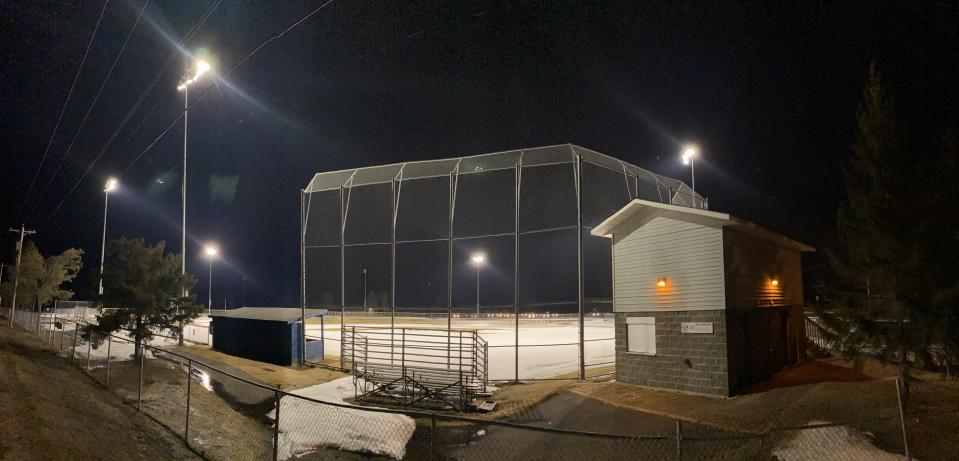 The lights at Fichtner Field in Hermantown, MN will light up each Monday at 8:20 p.m. to honor students staying home during the coronavirus pandemic. (Photo: Wade Petrich/Hermantown Star)