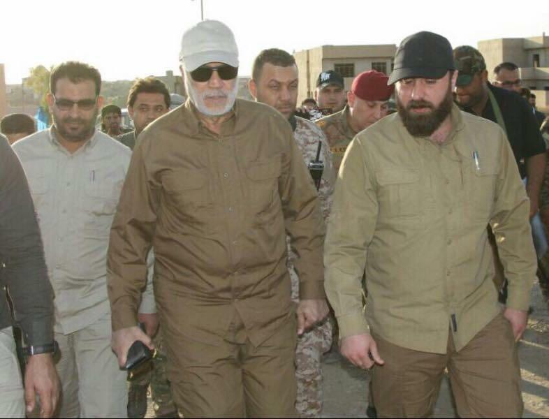 Deputy head of the Popular mobilization forces [PMU] Hashd al Shaabi, Abu Mahdi Muhandis, left, with other Hashd al Shaabi commanders. (Courtesy of the Kurdish authorities)