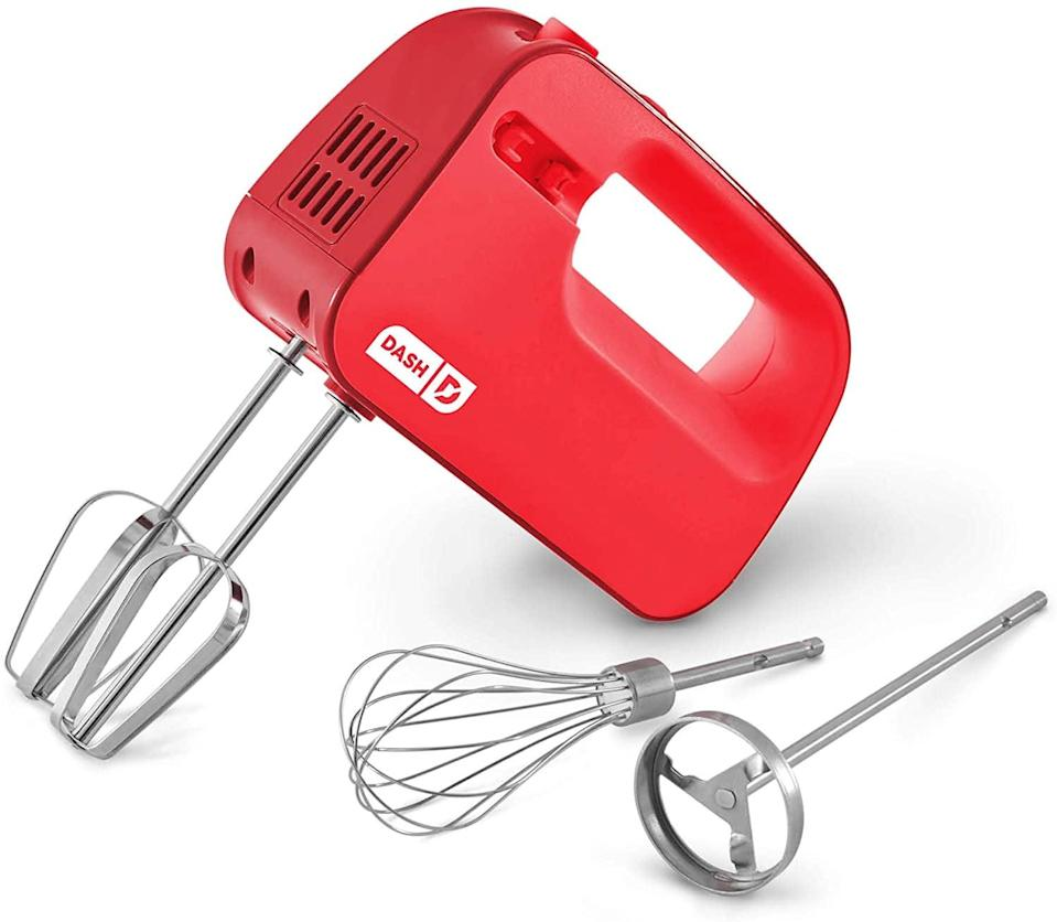 <p>The three-speed <span>Dash SmartStore Deluxe Compact Electric Hand Mixer</span> ($20, originally $25) will make your baking adventures go a lot easier. It comes with a beaters, whisks, and milkshake attachments.</p>