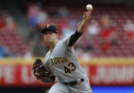 Pittsburgh Pirates starting pitcher Steven Brault (43) throws against the Cincinnati Reds during the first inning of a baseball game, Wednesday, May 29, 2019, in Cincinnati. (AP Photo/Gary Landers)