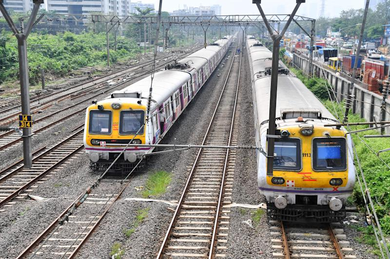 Local trains stranded due to a major power cut in several areas after grid failure, are pictured in Mumbai on October 12, 2020. (Photo by INDRANIL MUKHERJEE / AFP) (Photo by INDRANIL MUKHERJEE/AFP via Getty Images)