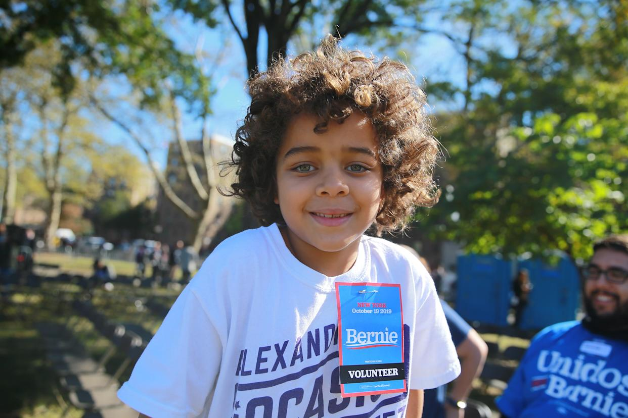 A young volunteer for Democratic presidential candidate Bernie Sanders as he campaigns at the Bernie's Back Rally in Long Island City, New York on Saturday, Oct. 19, 2019. (Photo: Gordon Donovan/Yahoo News)
