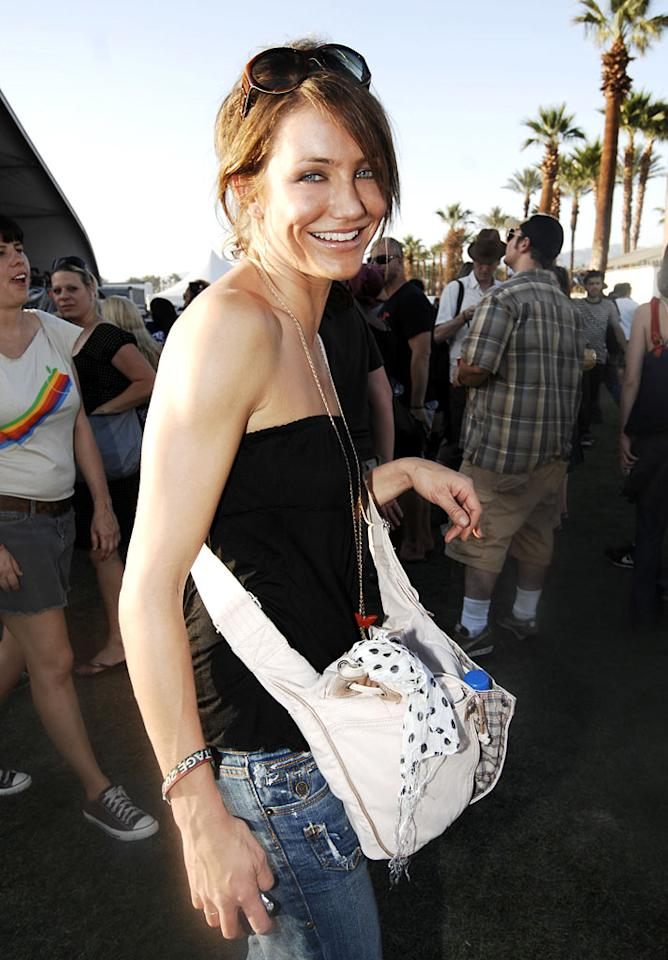 "Cameron Diaz stands out in the crowd at the 2007 Coachella Music Festival. Kevin Mazur/<a href=""http://www.wireimage.com"" target=""new"">WireImage.com</a> - April 27, 2007"