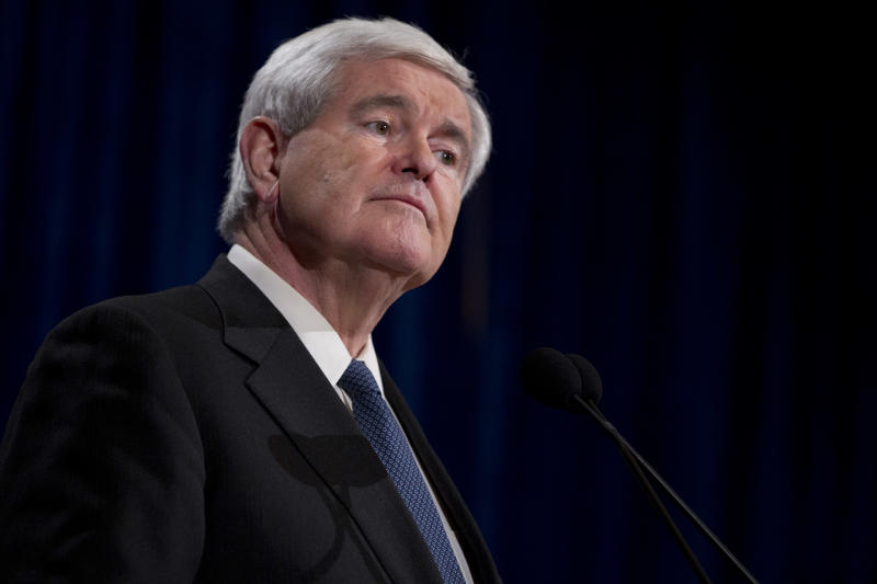Republican presidential candidate, former House Speaker Newt Gingrich listens to a question during a news conference on Saturday, Feb. 4, 2012 in Las Vegas, Nev.  (AP Photo/Evan Vucci)