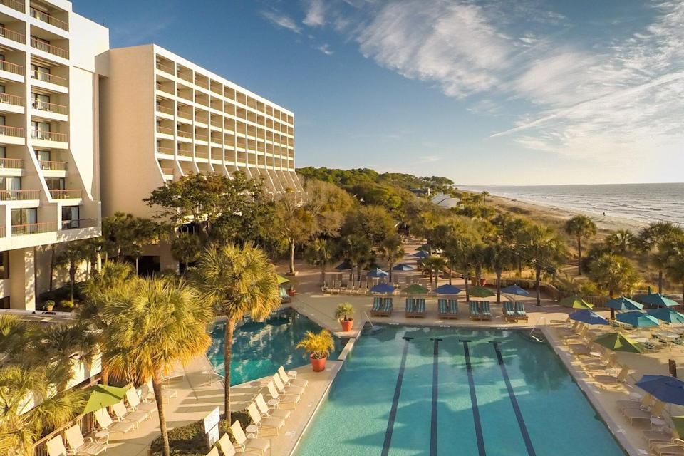 Exterior and pool view of Hilton Head Marriott Resort & Spa