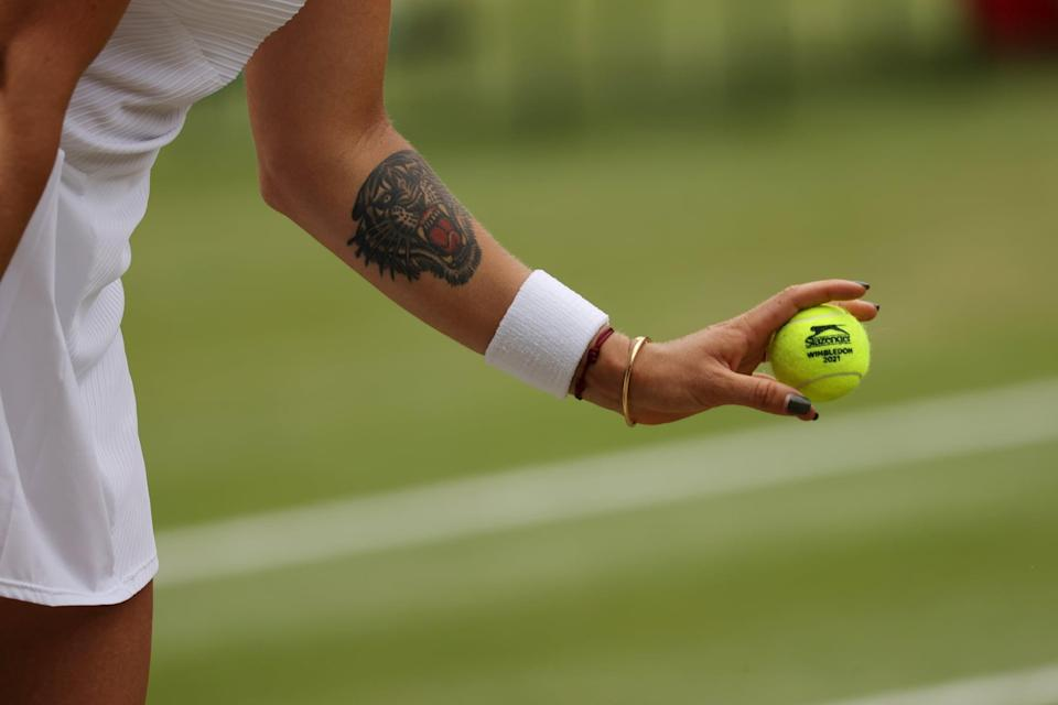 """<p>Sabalenka has a large tattoo of a tiger on her left arm and another large tattoo of a tiger on her upper left thigh. She was born in 1998, which is the year of the Tiger, and she said during an interview with the Tennis Channel that the tattoo on her arm reminds her to <a href=""""http://www.essentiallysports.com/aryna-sabalenka-reveals-story-behind-her-tattoo/"""" class=""""link rapid-noclick-resp"""" rel=""""nofollow noopener"""" target=""""_blank"""" data-ylk=""""slk:fight for each point"""">fight for each point</a>.</p>"""