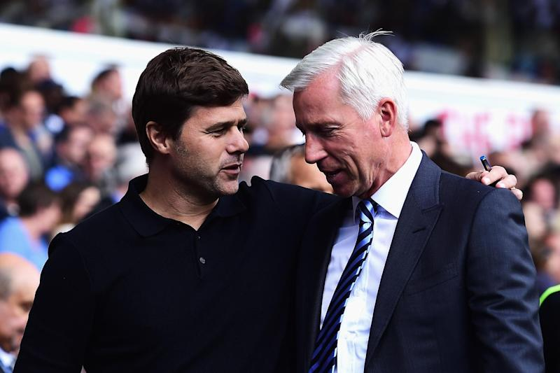 Pochettino and Pardew before Tottenham and Crystal Palace's match in August: Getty Images