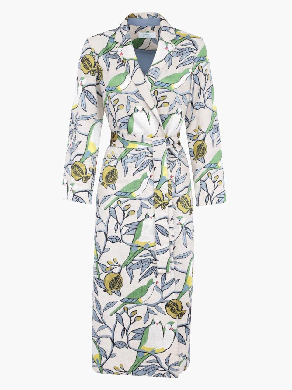 """<p><strong>Maison Alma</strong></p><p>fashionkind.com</p><p><strong>$2700.00</strong></p><p><a href=""""https://fashionkind.com/collections/maison-alma/products/maison-alma-kimono-dos-loros?variant=31897591054379"""" rel=""""nofollow noopener"""" target=""""_blank"""" data-ylk=""""slk:Shop Now"""" class=""""link rapid-noclick-resp"""">Shop Now</a></p><p>The Dos Loros Kimono is part of our classics collection, a fully embroidered statement coat which encapsulates our soul. It is a celebration of nature, exquisite craftsmanship, and timelessness.</p>"""