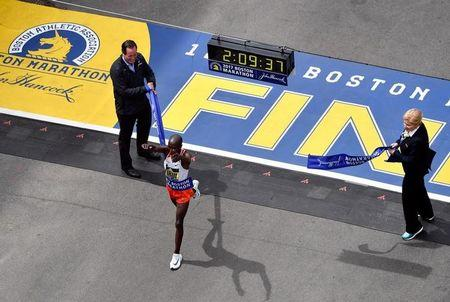 Apr 17, 2017; Boston, MA, USA; Geoffrey Kirui crosses the finish line of the 2017 Boston Marathon winning the men's division. Brian Fluharty-USA TODAY Sports