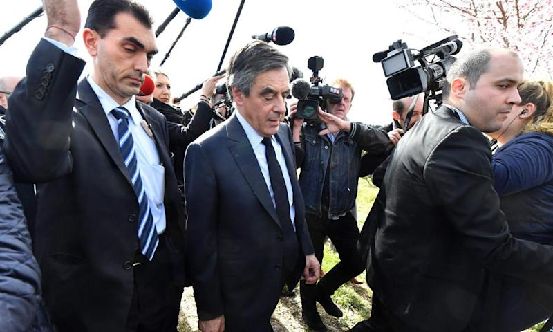 Francois Fillon visits the farm of a young winegrower near Nimes.
