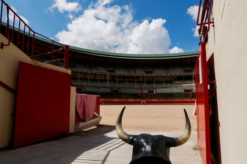 A view of an empty Pamplona's bullring as the San Fermin festival has been cancelled for the second year in a row, in Pamplona