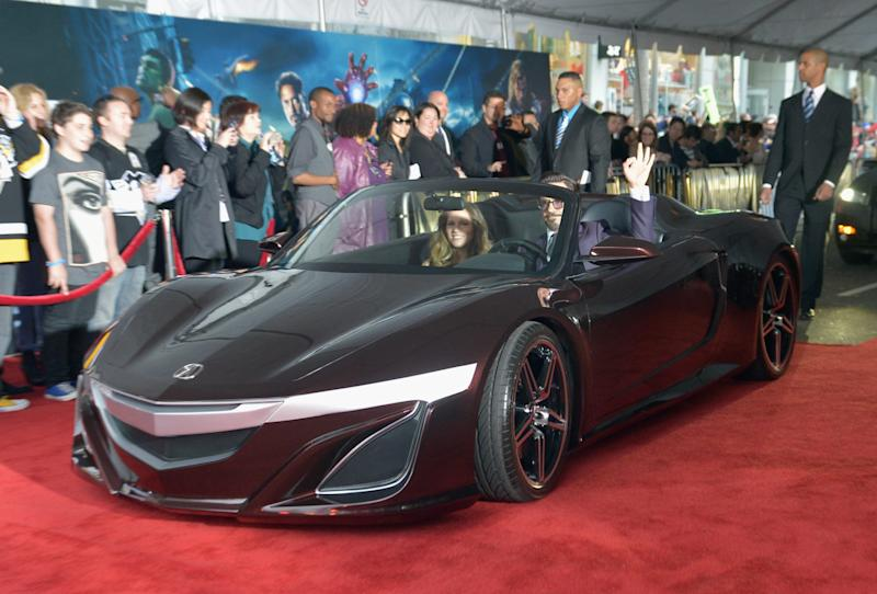 Robert Downey Jr. arrives in the NSX Roadster concept for the premiere of The Avengers.