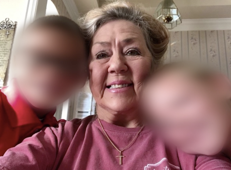 Pictured is Connie Taylor and the two young boys.