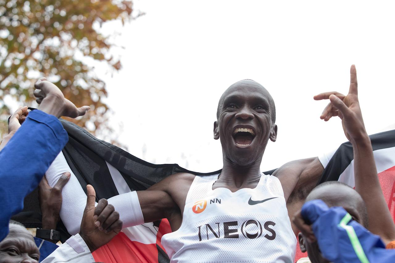 <p>On this day one year ago, Eliud Kipchoge made history, becoming the first man on the planet to run a sub-two-hour marathon. To celebrate, we look back at some of the best photos from the day:  </p>