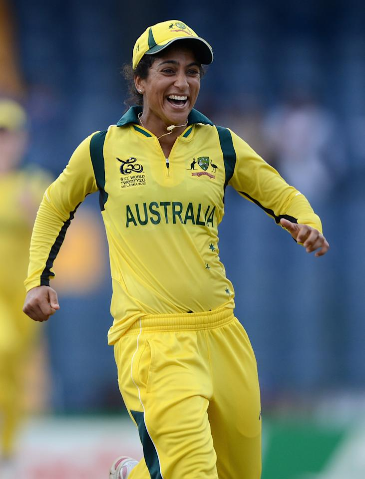 COLOMBO, SRI LANKA - OCTOBER 07:  Lisa Sthalekar of Australia celebrates after dismissing England captain Charlotte Edwards during the ICC Women's World Twenty20 2012 Final between Australia and England at R. Premadasa Stadium on October 7, 2012 in Colombo, Sri Lanka.  (Photo by Gareth Copley/Getty Images)