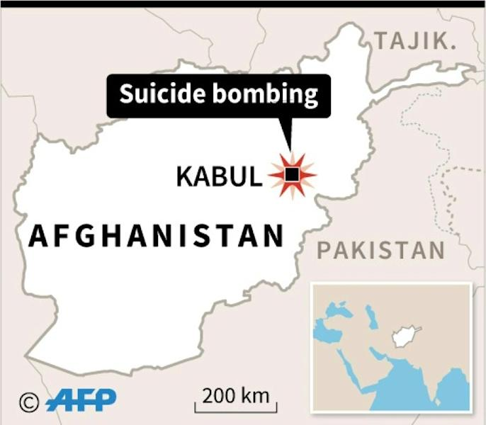 Map locating suicide bombing in Kabul where a motorcyclist exploded himself near a group commemorating the death of resistance fighter Ahmad Shah Massoud