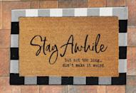 <p>Set expectations with the <span>Stay Awhile Outdoor Rug</span> ($40).</p>