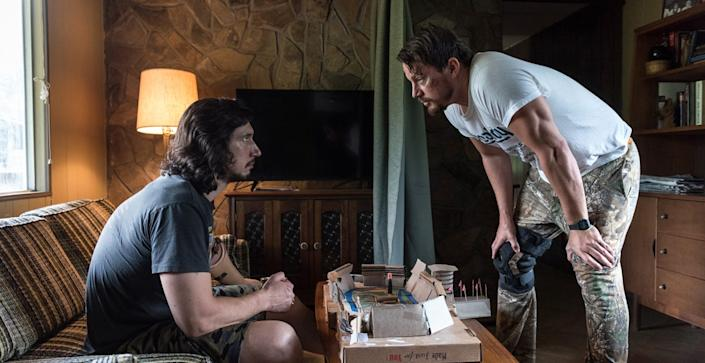 """(L-R) Adam Driver and Channing Tatum in """"Logan Lucky."""""""
