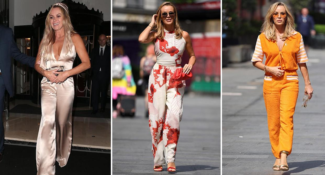 Amanda wore a silk jumpsuit to David Walliams 50th Birthday at the weekend. She's also no stranger to statement designs, in July she was seen leaving Heart Radio in a floral design, as well as a bold retro flannel orange number in June. (Getty Images)