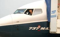 FAA Chief Steve Dickson conducts a pre-flight check in a Boeing 737 MAX aircraft in Seattle