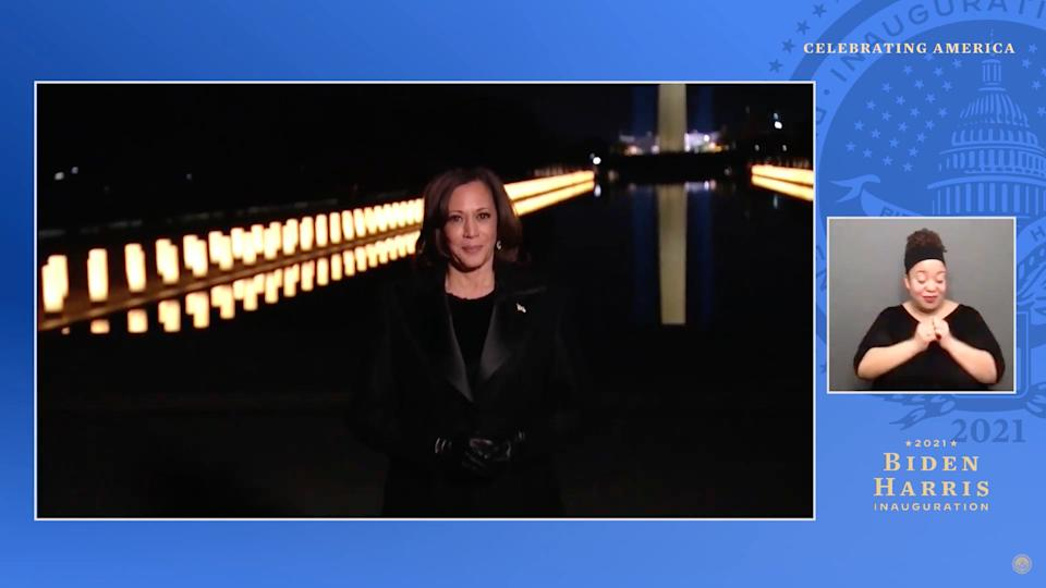 UNSPECIFIED - JANUARY 20: In this screengrab, Vice President Kamala Harris speaks during the Celebrating America Primetime Special on January 20, 2021. The livestream event hosted by Tom Hanks features remarks by president-elect Joe Biden and vice president-elect Kamala Harris and performances representing diverse American talent.  (Photo by Handout/Biden Inaugural Committee via Getty Images )