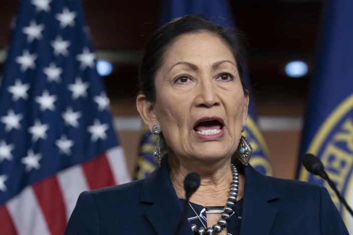 FILE - In this March 5, 2020, file photo Rep. Deb Haaland, D-N.M., Native American Caucus co-chair, speaks to reporters about the 2020 Census on Capitol Hill in Washington. President-elect Joe Biden plans to nominate Haaland as interior secretary. The historic pick would make her the first Native American to lead the powerful federal agency that has wielded influence over the nation's tribes for generations. (AP Photo/J. Scott Applewhite, File)