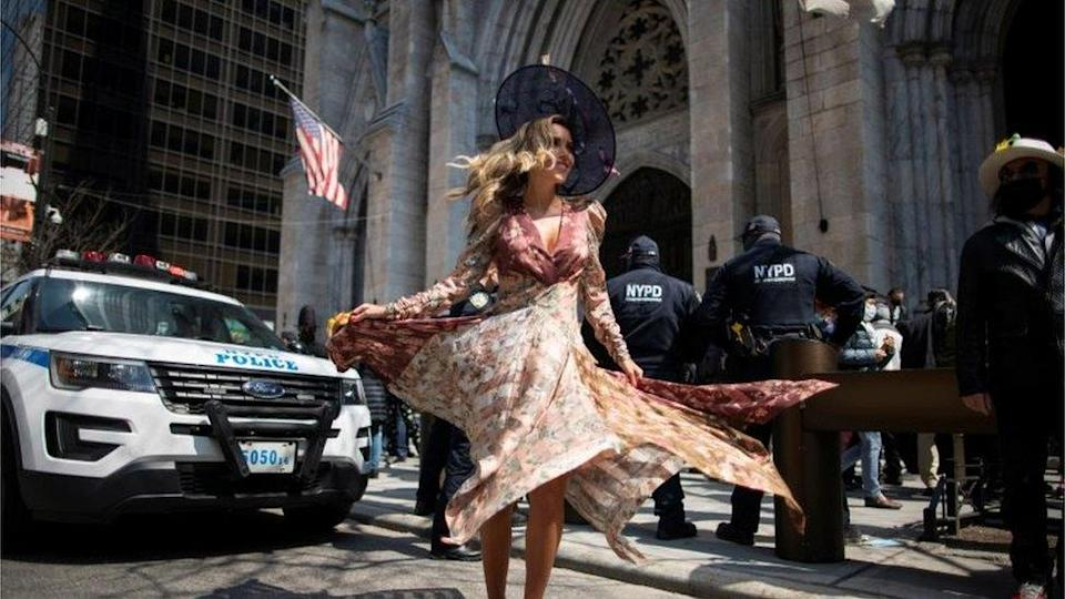 A woman attends the annual Easter Parade and Bonnet Festival on Fifth Avenue, amid the coronavirus disease (COVID-19) pandemic, in New York City, U.S., April 4, 2021.