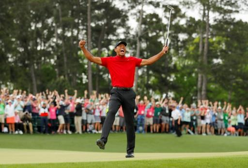 Tiger Woods celebrates winning the 2019 US Masters, 11 years after his last major triumph