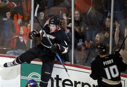 Anaheim Ducks' Bobby Ryan, left, celebrates his goal against the St. Louis Blues during the third period of an NHL hockey game in Anaheim, Calif., Sunday, March 10, 2013. The Ducks won 4-2. (AP Photo/Jae C. Hong)