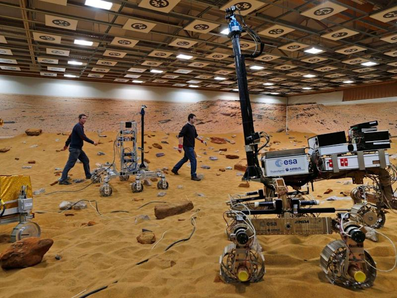 The 'Mars Yard Test Area', where robotic vehicles of the European Space Agency's ExoMars program are tested in Stevenage (AP)