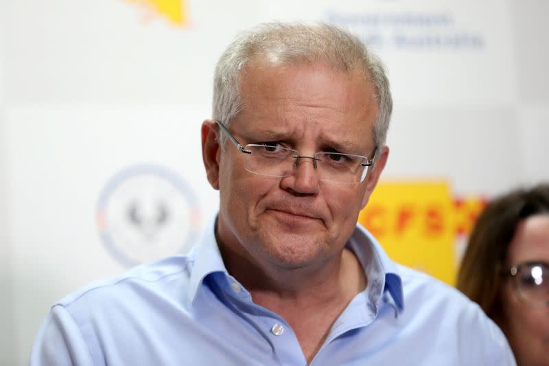 Australian Prime Minister Morrison speaks to the media during a press conference at the Mt Barker CFS HQ