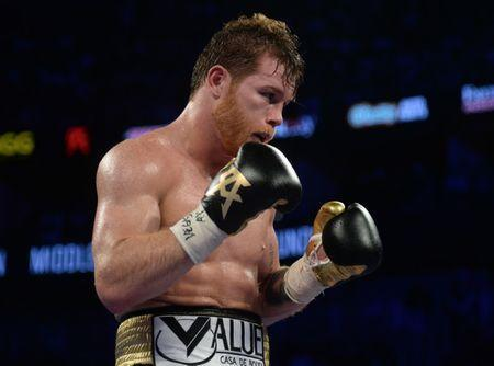 Sep 15, 2018; Las Vegas, NV, USA; Canelo Alvarez boxes against Gennady Golovkin (not pictured) in the middleweight world championship boxing match at T-Mobile Arena. Alvarez won via majority decision. Mandatory Credit: Joe Camporeale-USA TODAY Sports