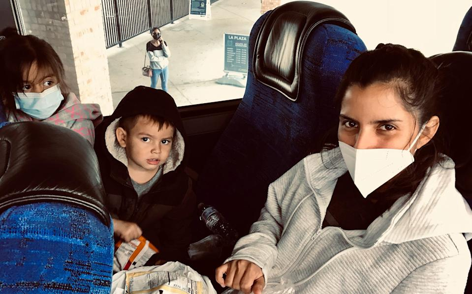 <p>Karina Aguirre and her children are heading to Miami – and a new life</p> (Andrew Buncombe)