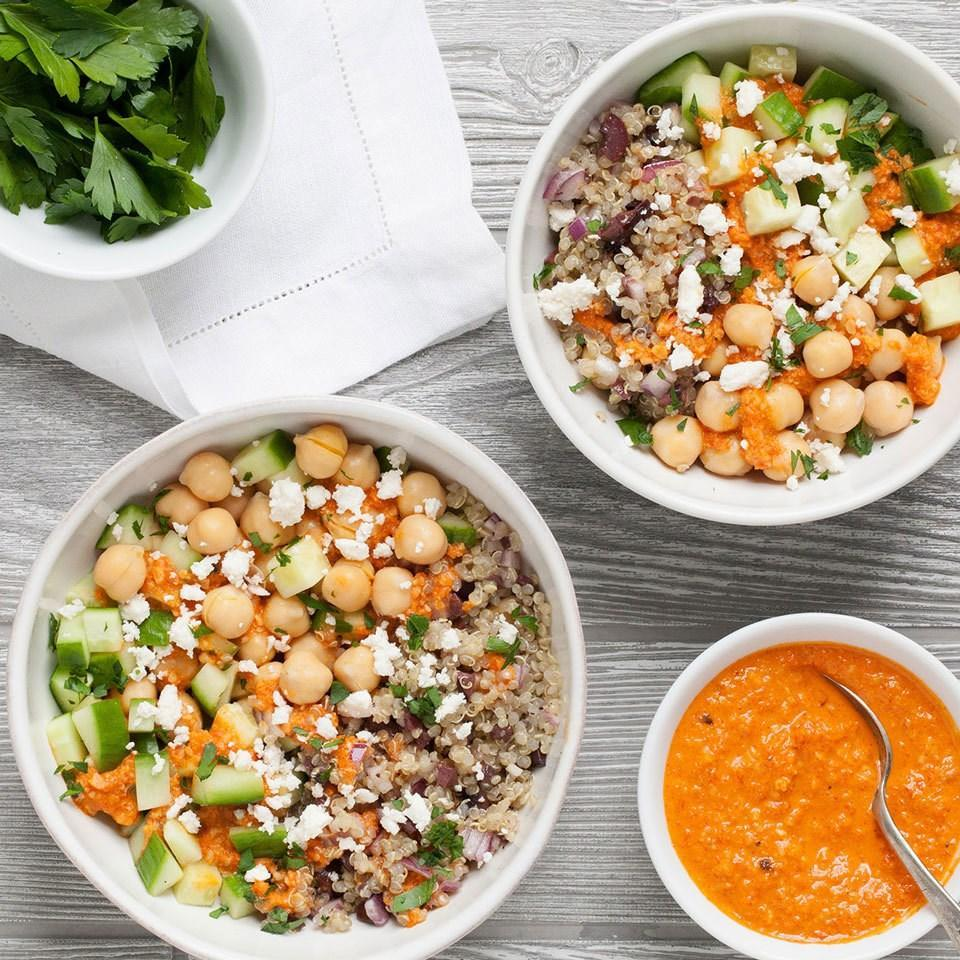 <p>Quinoa and chickpeas pack this vegetarian grain bowl with plenty of plant-based protein. Whip up a batch of these Mediterranean meals and pack in containers with lids to stash in the fridge for easy, healthy grab & go lunches all week long.</p>