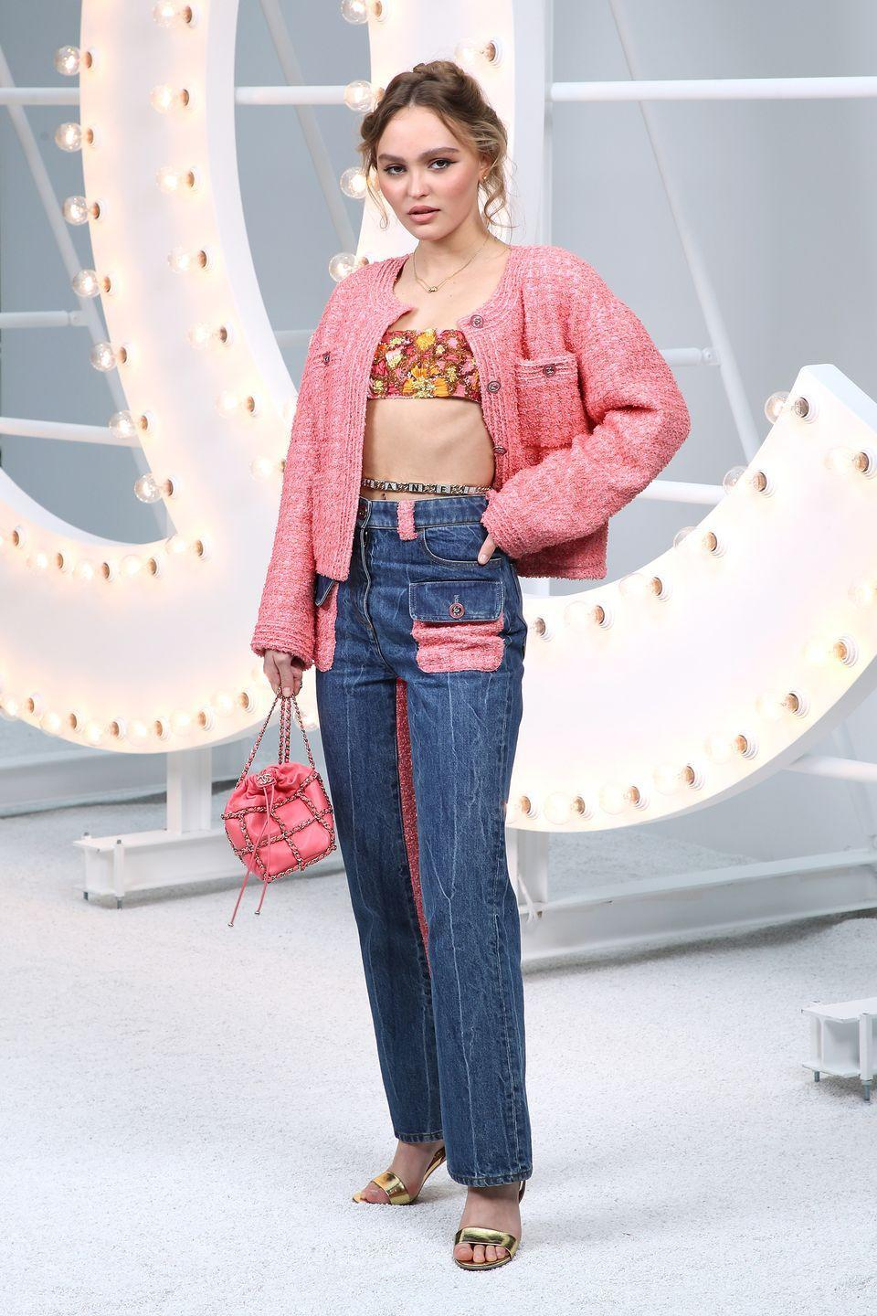 <p><strong>6 October </strong>Lily-Rose Depp tied her look together with pinky hues at the Chanel show during Paris Fashion Week. </p>