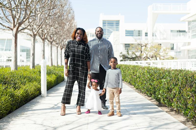 Amber Aaron Mosley with her husband and two kids.