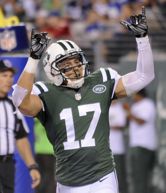 New York Jets wide receiver Greg Salas (17) reacts after catching a touchdown pass against the New York Giants in the fourth quarter of a preseason NFL football game, Friday, Aug. 22, 2014, in East Rutherford, N.J. (AP Photo/Bill Kostroun)